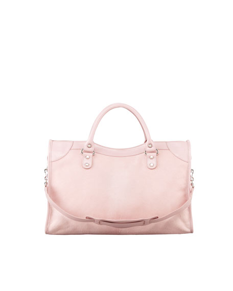Giant 12 Nickel Calf Hair City Bag, Rose