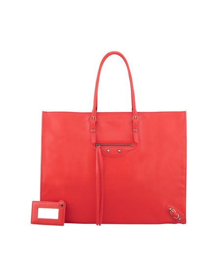 Papier A4 Leather Tote Bag, Red