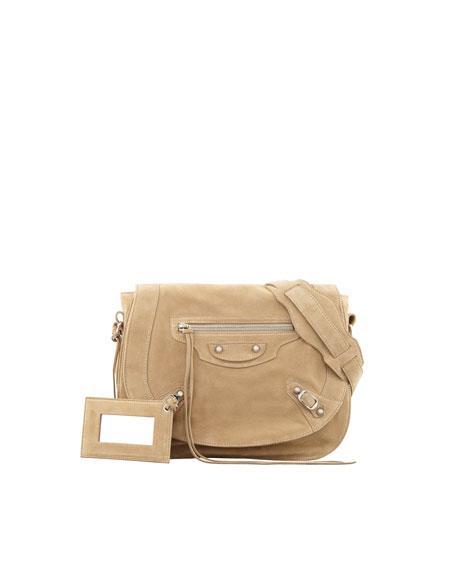 Classic Baby Daim Neo Folk Bag, Tan