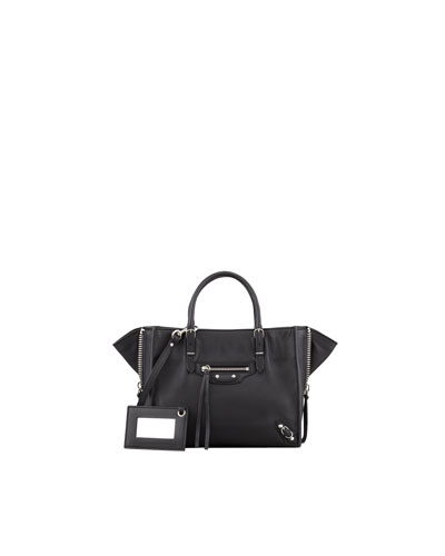 Balenciaga Papier A4 Mini Leather Tote Bag, Black