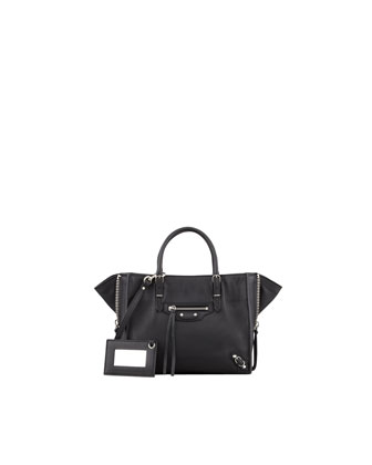 Papier A4 Mini Leather Tote Bag, Black