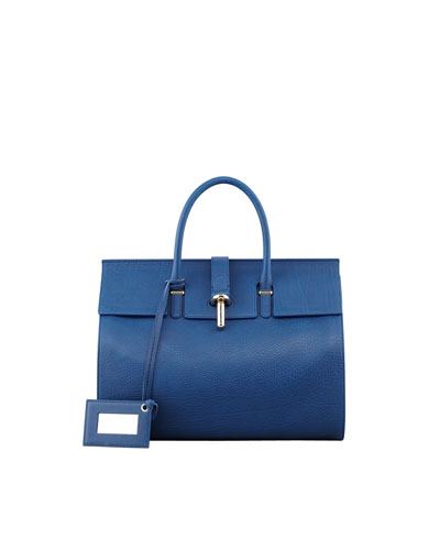 Balenciaga Tube-Clasp Tote Bag, Blue