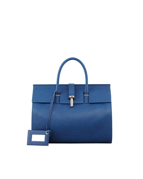 Tube-Clasp Tote Bag, Blue