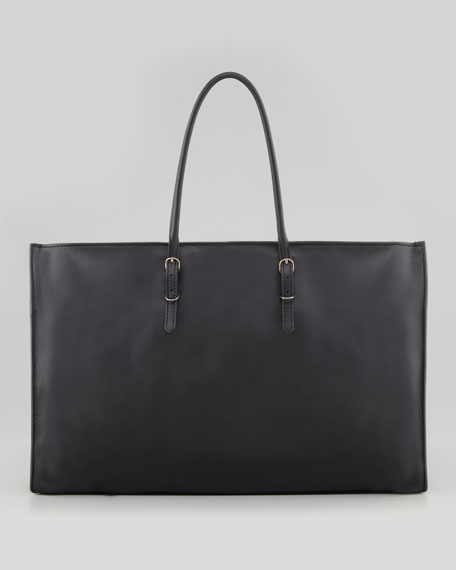 Papier Office Zip Leather Tote Bag, Black