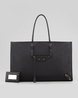Balenciaga Papier Office Zip Leather Tote Bag, Black