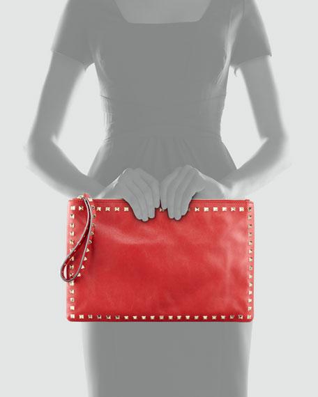 Rockstud Leather Wristlet Clutch Bag, Scarlet