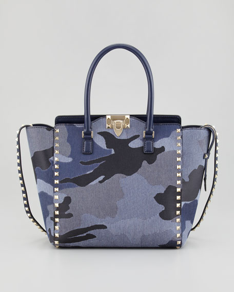 Rockstud Denim Camouflage Shopper Tote