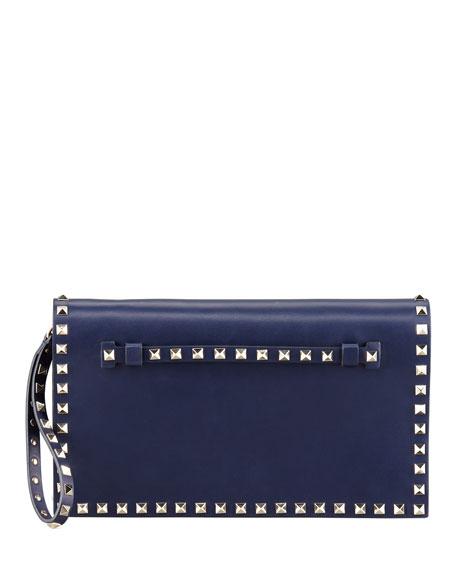 Rockstud Flap Clutch Bag, Blue