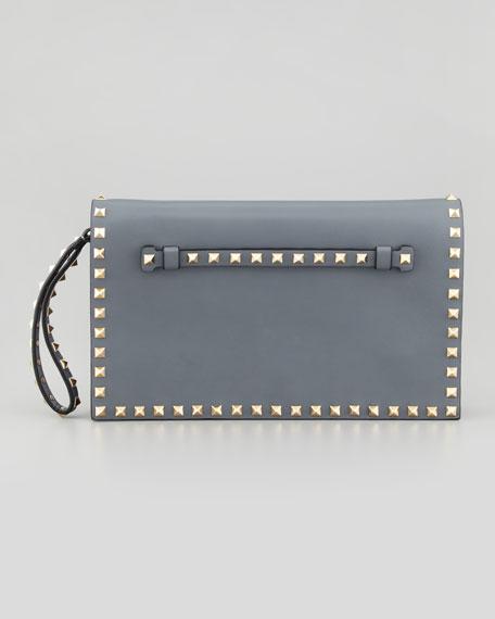 Rockstud Flap Wristlet Clutch Bag, Gray
