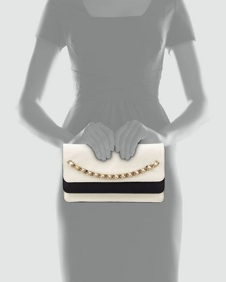 Runway Bicolor Chain Clutch Bag, White/Black