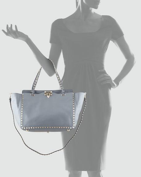 Rockstud Medium Tote Bag, Gray