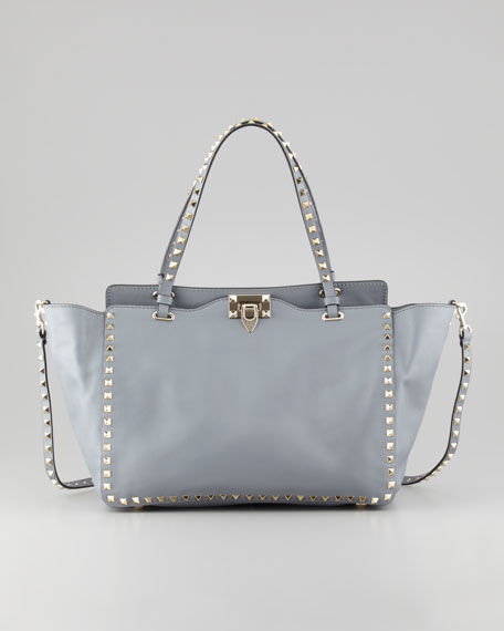 Rockstud Medium Tote Bag, Gray