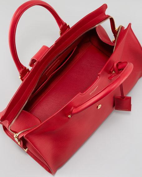 Y-Ligne Cabas Large Leather Carryall Bag, Red