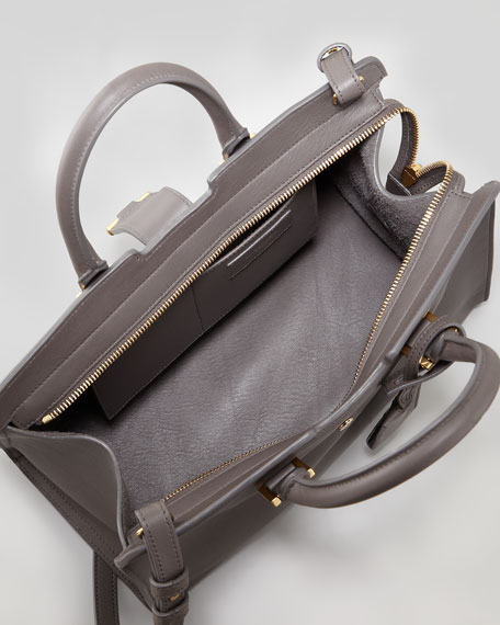 Y-Ligne Cabas Mini Leather Bag, Gray