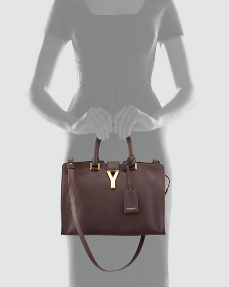 Y-Ligne Cabas Mini Leather Bag, Dark Brown