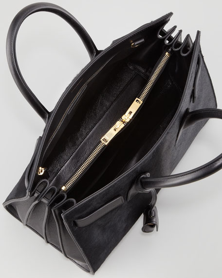 Sac De Jour Small Calf Hair Carryall Bag, Black