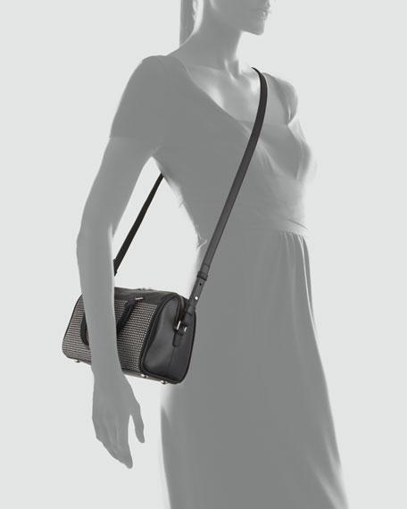 3 Hour Studded Crossbody Duffel Bag, Black