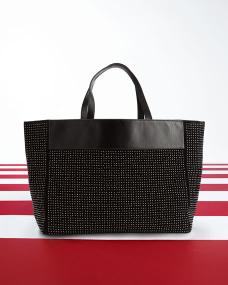 Studded East-West Shopper Bag, Black