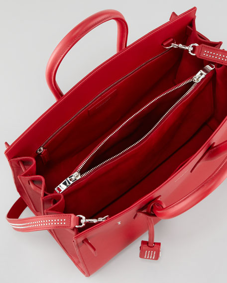 Sac de Jour Small Stud-Detailed Carryall Bag, Red