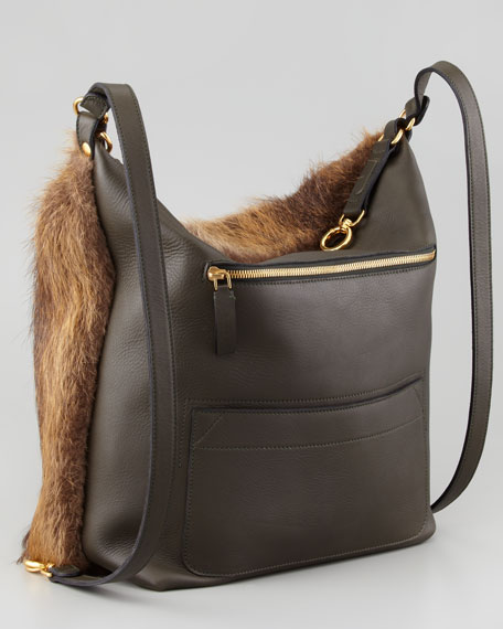 Three-in-One Convertible Fur Backpack