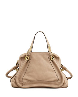 Chloe Paraty Medium Calfskin Satchel, Dove