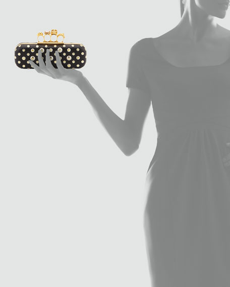 Studded Knuckle-Duster Clutch Bag, Black