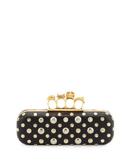 Alexander McQueen Studded Knuckle-Duster Clutch Bag, Black