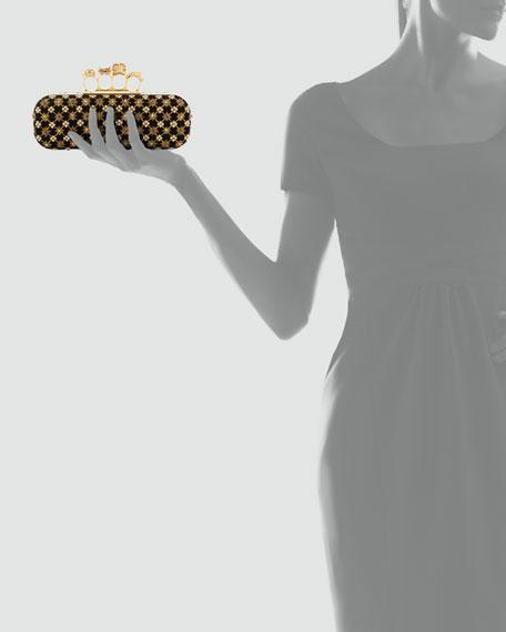Embroidered Velvet Knuckle-Duster Clutch Bag, Black/Gold