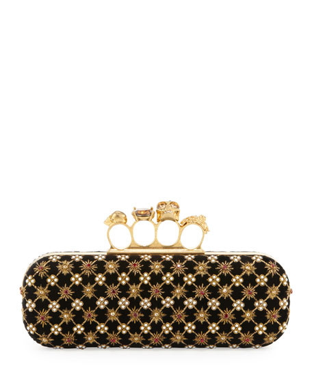 Embroidered Velvet Knuckle-Duster Clutch Bag, Black/Gold