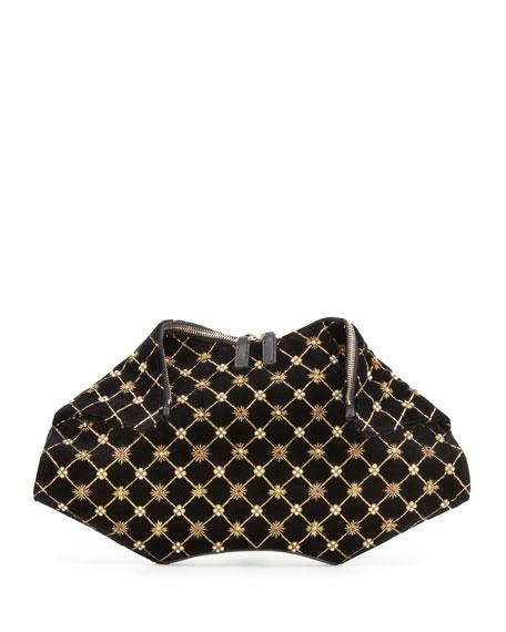 De-Manta Velvet Embroidered Clutch Bag