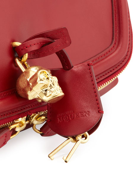 Skull Padlock Fold-Over Clutch Bag, Ruby