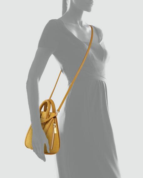 Heroine Mini Embossed Satchel Bag, Gold