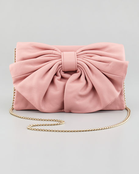 Bow-Front Calfskin Shoulder Bag, Rose