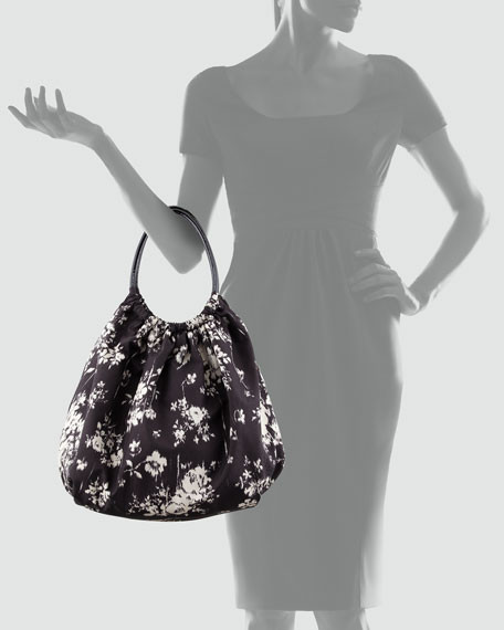 Printed Taffeta Hobo Bag, Black/White