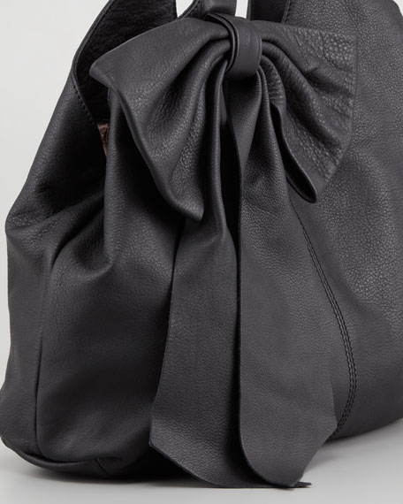 Leather Bow Hobo Bag, Black