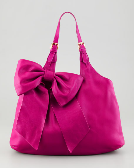 Leather Bow Hobo Bag, Pink
