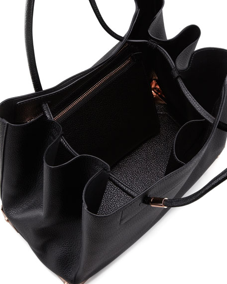 Prisma Leather Tote Bag, Black/Rose Gold