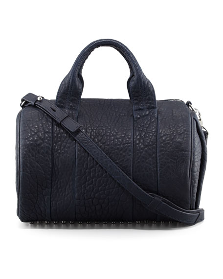 Rocco Stud-Bottom Satchel Bag, Navy