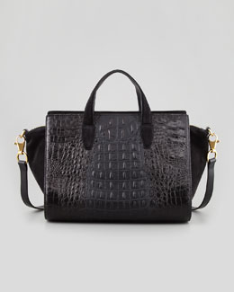Alexander Wang Pelican Gold Crocodile-Embossed Satchel Bag, Black