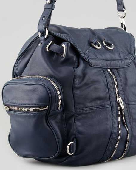 Marti Zippered Backpack, Navy