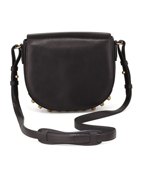 Lia Small Leather Crossbody Bag, Black