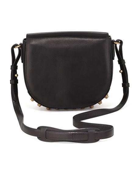 Lia Small Leather Crossbody Bag, Black