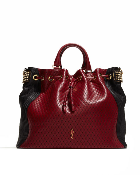 Dompteuse Two-Tone Quilted Bucket Bag, Red