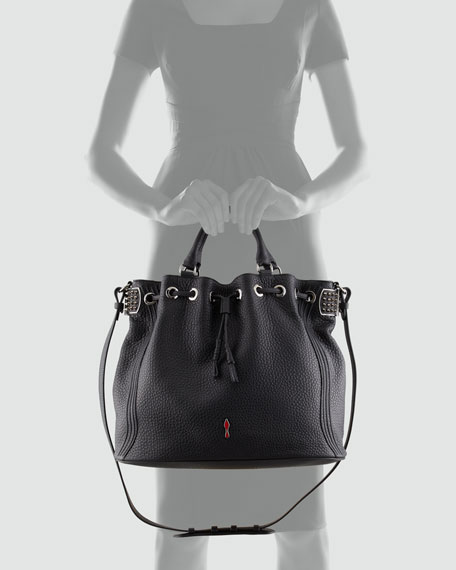 Dompteuse Spiked Leather Bucket Bag, Black