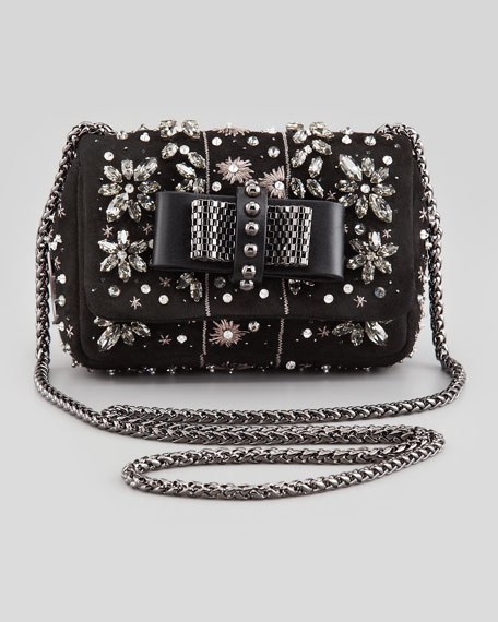 Sweety Charity Jeweled Crossbody Bag, Black