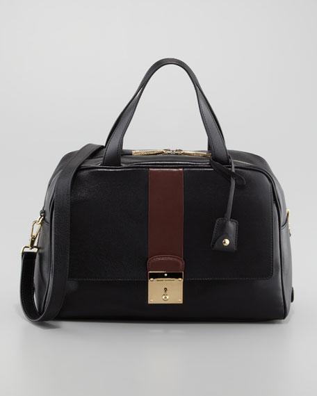 Frankie Bicolor Zip Satchel Bag, Black