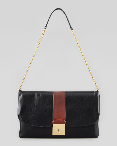 Jean Bicolor Clutch Bag, Black