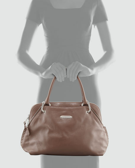 Rio Shiny Leather Satchel Bag, Brown