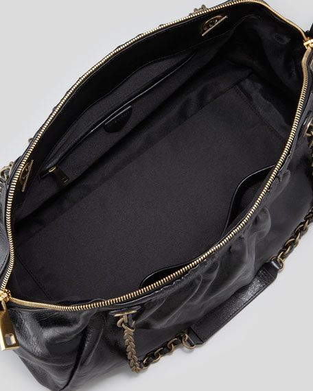 Ava East-West Chain-Strap Shoulder Bag, Black