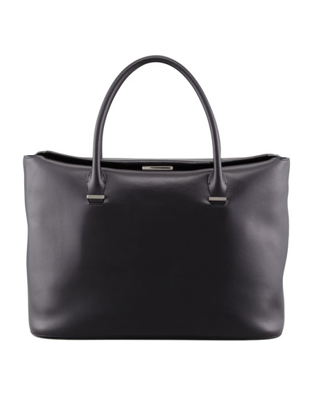 THE ROW The Carry All Leather Tote Bag, Black